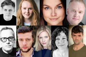 The cast of When The Boat Comes In (top, left to right) Luke Maddison, Sarah Balfour, Alice''Stokoe, Charlie Richmond (bottom, l-r) Steve Byron, Jamie Brown, Anna Bolton, Janine''Birkett and Matt Howdon.