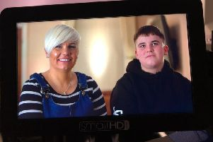 Robbie Drew and his mam Lizzy Stavers being filmed for More 4's new series of Emergency Helicopter Medics.