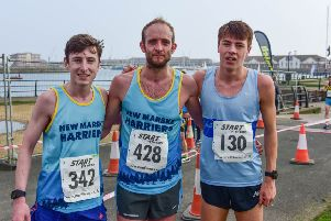The top competitors in last year Hartlepool Marina 5-mile road race, from left, third-placed Dean Newton, winner Dominic Shaw and runner-up Josh Cowperthwaite.