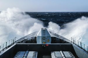 The bow of HMS Defender. Picture issued by the Royal Navy