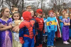 Pupils from St Bede's RC Primary School in Jarrow showed off their World Book Day costumes during a parade in the yard.
