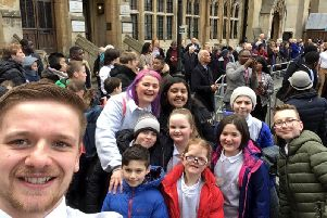 Staff members Cal Whitfield and Rachel Tomlinson with pupils of Barrowford Primary School at a Commonwealth service at the Westminster Abbey. (s)