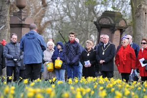 The Deputy Mayor Coun Norman Dick marks the 150th anniversary of the opening of Jarrow Cemetery.