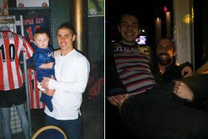 Bradley Logan pictured as a baby, and now, with SAFC legend Kevin Phillips.