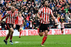 Sunderland striker Will Grigg celebrates scoring the winning goal against Walsall.