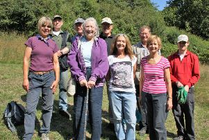 Volunteers at the Friends of Brierdene with the group's patron Marian Foster.