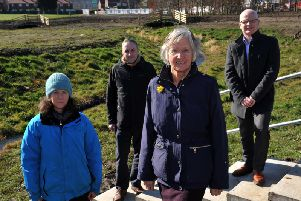 Monkton Flood Alleviation Scheme partners (from left): Liz Walters (Tyne Rivers Trust); Paul Knight (Royal Haskoning); Coun Nancy Maxwell and Stephen Semple (Balfour Beatty).