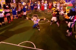 H'Angus during the Super Movers Mascot Mashup dance on The One Show.