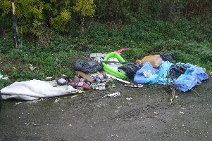 Fly-tipping near the riverside in Jarrow.