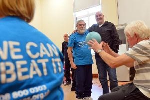 Parkinson's support exercise group at South Shields Museum. From left Parkinson's UK branch John Shone and fundraiser Graham Todd