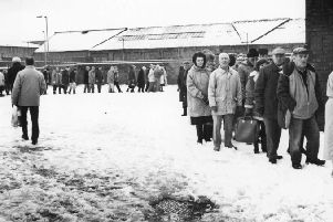 Pensioners queuing up for free mince in February 1991.