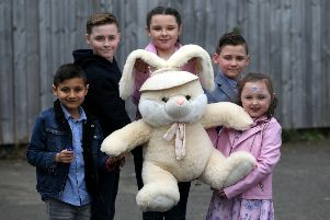 With the first prize of a Bunny in the Easter Egg Hunt are Wilson Crackett-Baker (7), Charlie Dunn (12), Brooke Paylor (12), Kayden Crackett-Baker (10) and Maddison Paylor (6). Picture by CHRIS BOOTH