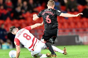 Lee Cattermole in action against Ben Whiteman during the reverse fixture earlier in the season.