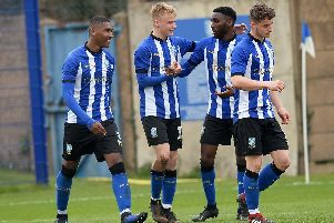 Elliott Vasalo is congratulated after his goal against Coventry City