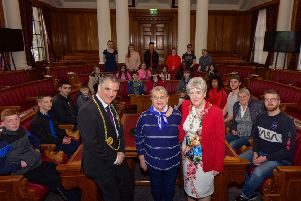 The Mayor and Mayoress of South Tyneside Coun. Ken Stephenson and Cathy Stephenson, with Coun. Fay Cunningham and students from twin town of Wuppertal, Germany
