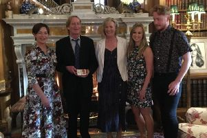 From left, the Duchess of Northumberland then Alan Bell and his wife  Catherine, daughter Amanda and son Nicholas. Picture by Richard Thompson.