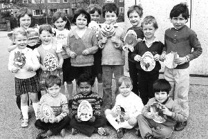 Winners at Jarrow Epinay School's egg painting contest in 1984.