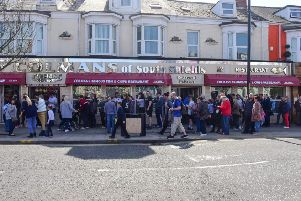 Queues outside Colmans fiish and chip shop on Good Friday in South Shields