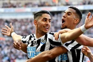 Ayoze Perez celebrates his first goal.