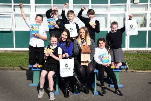 Pupils from Toner Avenue Primary School with their wildlife kits