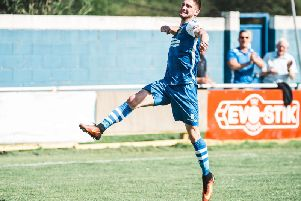 Mikey Dunn celebrates his goal for Pontefract Collieries against Sheffield FC. Picture: James Heaton