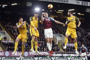 Burnley centre back James Tarkowski in action against Brighton at Turf Moor