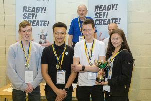 Students Fay Bloodworth, Zac Megwa, Callam Hinton, Robert Eadington from Morpeth's King Edward VI High School who were winners at the North East Technology Tournament. Picture by Tony Rundle.