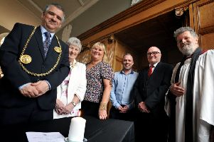 The Mayor Coun Ken Stephenson and Mayoress Mrs Cathy Stephenson attending Workers Memorial Day service held at South Shields Town Hall, with left to right, Unison rep Janet Green, Martin Smithwhite, GMB rep Tom Hunter, and Rev Charles James.