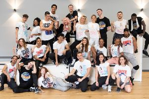 Spice Girls Melanie Brown, Emma Bunton, Geri Horner and Melanie Chisholm pictured for the first time with their dancers, all in new merchandise styled on their original '90s image. Pic: Andrew Timms/PA Wire.