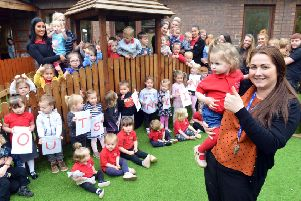 Bede Burn Kindergarten in Jarrow celebrates its outstanding Ofsted report, with manager Courtney Gibb, front, with daughter Edie-Grace Ball, one.