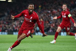 Georginio Wijnaldum celebrates scoring against Barcelona at Anfield.