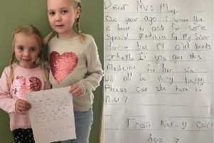 Harriet Corr with sister Nancy. And, right, the letter Nancy wrote to PM Theresa May.