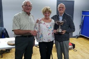 Marcus Hookham and Dennis Shaw with Joanna Keay-Blyth.