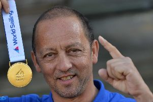 Chris Albert with the gold medal he won in 2017