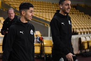 Ayoze Perez and Joselu of Newcastle United walk out of the tunnel prior to the Premier League match between Wolverhampton Wanderers and Newcastle United at Molineux on February 11, 2019 in Wolverhampton, United Kingdom.  (Photo by Stu Forster/Getty Images)