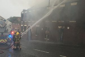 Firefighters tackle the blaze in Hebburn