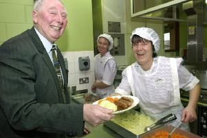 Blackpool councillors enjoyed a school lunch at Layton Primary School in 2001. Henry Mitchell is served sausage and mash by Helen Watson,