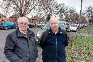 Roy Penketh and Ian Sunderland are concerned about parking on Thorne Road, Wheatley