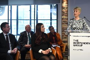 Penistone and Stocksbridge MP Angela Smith speaks at the press conference. Picture: PA