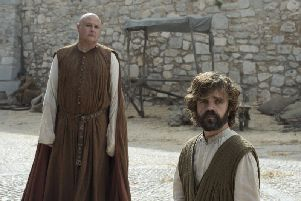 From left, Conleth Hill as Varys and Peter Dinklage as Tyrion Lannister return in the last series of Game of Thrones.