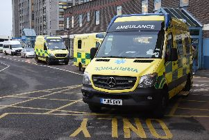 Ambulances parked outside Doncaster Royal Infirmary's emergency department