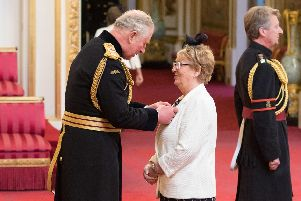 Maureen Horton from Sheffield is made an MBEby the Prince of Wales at Buckingham Palace. Picture: Dominic Lipinski/PA Wire