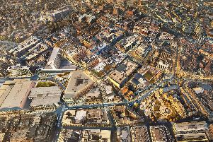 An aerial view of what Heart of the City II will look like once complete.