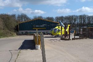 The air ambulance landed in the grounds of Travis Perkins in Bridlington.