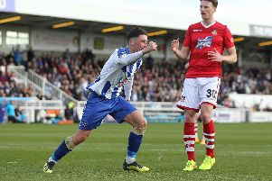 Hartlepool's Josh Hawkes celebrates scoring from the penalty spot against Wrexham.