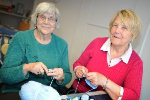 Volunteers Lena Parker and Linda Williamson, pictured are busy Crochet and knitting Tour De Yorkshire themed decorations. Picture: NDFP-26-03-19-Renew-4
