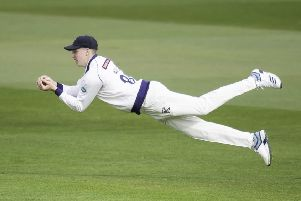 Yorkshire's Harry Brook takes a catch from the bowling of Steve Patterson to dismiss Nottinghamshire's Samit Patel. Picture:  Allan McKenzie/SWpix.com
