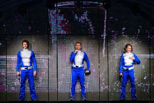 Take That on stage in Sheffield. (Photo: Martin Dunning).