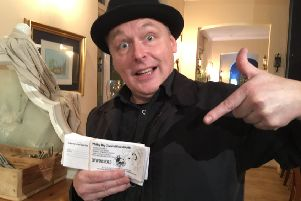 Parade director Richard Broderick with the first Whitley Bay Carnival raffle tickets  on sale at participating venues in the town.