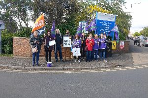 Striking workers at Doncaster Royal Infirmary.